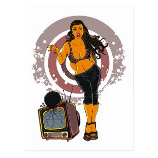Fitness Women Workout TV Bowling Black Postcard