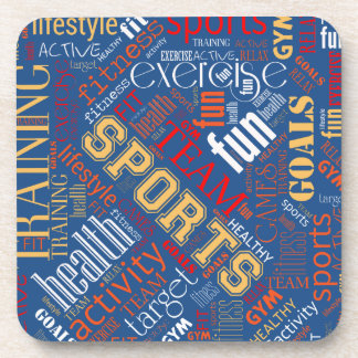 Fitness Word Cloud Red/White ID284 Beverage Coasters