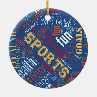 Fitness Word Cloud Red/White ID284 Ceramic Ornament