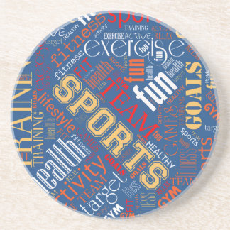Fitness Word Cloud Red/White ID284 Coaster