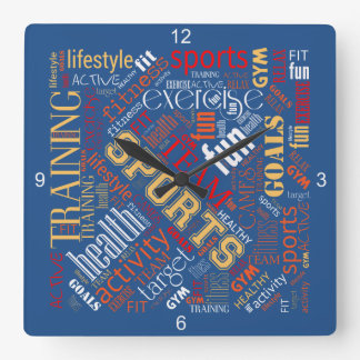 Fitness Word Cloud Red/White ID284 Square Wall Clock