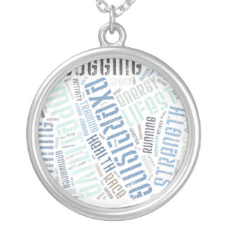 Fitness words silver plated necklace