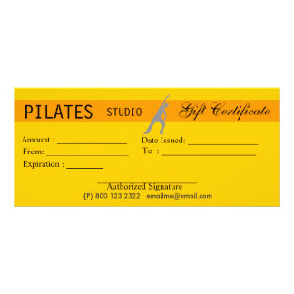 Fitness Yoga Pilates Gift Certificate Giveaway 10 Cm X 23 Cm Rack Card