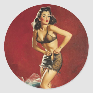Fitting Pin Up Round Sticker