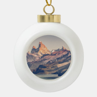 Fitz Roy and Poincenot Andes Mountains - Patagonia Ceramic Ball Christmas Ornament