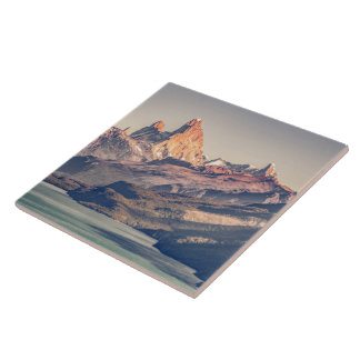 Fitz Roy and Poincenot Andes Mountains - Patagonia Ceramic Tile