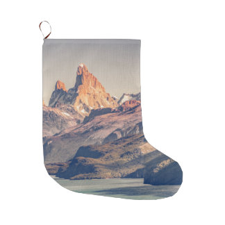 Fitz Roy and Poincenot Andes Mountains - Patagonia Large Christmas Stocking