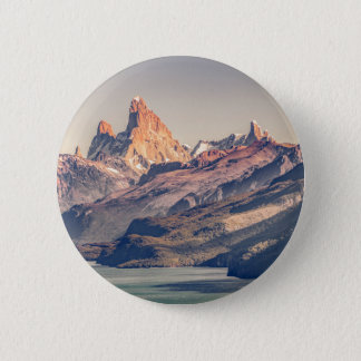 Fitz Roy and Poincenot Mountains Patagonia 6 Cm Round Badge