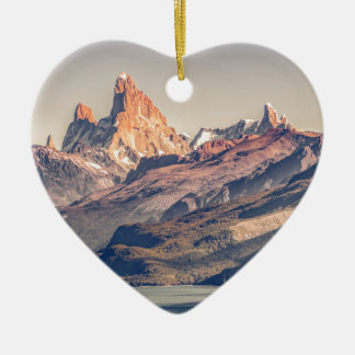 Fitz Roy and Poincenot Mountains Patagonia Ceramic Ornament
