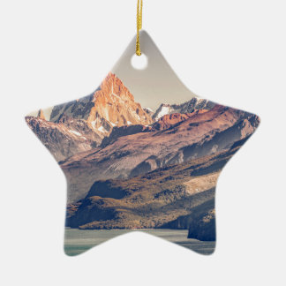 Fitz Roy and Poincenot Mountains Patagonia Ceramic Star Decoration