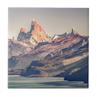 Fitz Roy and Poincenot Mountains Patagonia Ceramic Tile