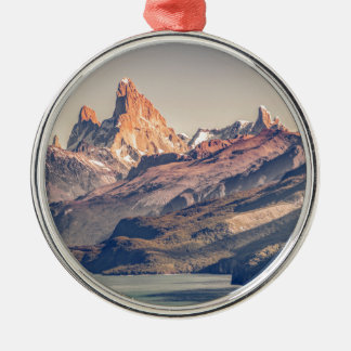 Fitz Roy and Poincenot Mountains Patagonia Metal Ornament