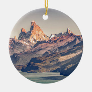 Fitz Roy and Poincenot Mountains Patagonia Round Ceramic Decoration