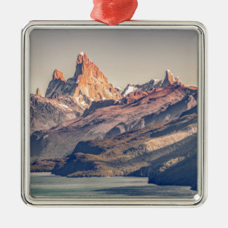 Fitz Roy and Poincenot Mountains Patagonia Silver-Colored Square Decoration