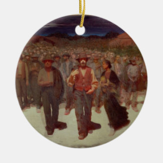 Fiumana (The Human Tide) 1895-96 (oil on canvas) Round Ceramic Decoration
