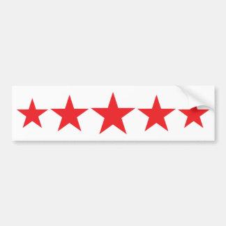five 5 red stars deluxe bumper sticker