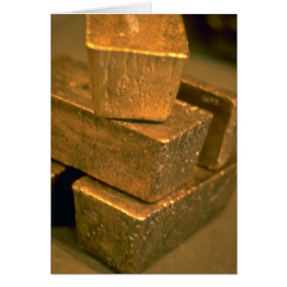 Five 90 pound gold bricks card
