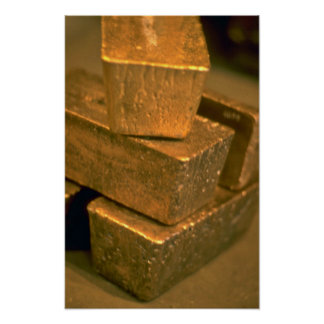 Five 90 pound gold bricks poster