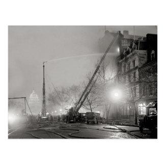 Five Alarm Fire at Night, 1925 Postcard