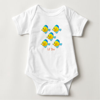 Five Blue and Yellow Fish Grouping Customizable Baby Bodysuit