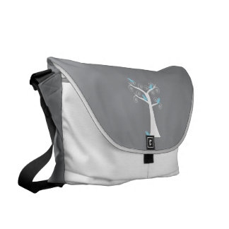 Five Blue Birds in a Tree Large Messenger Bags