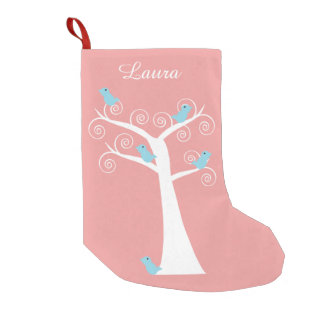 Five Blue Birds in a Tree Pink Personalize Small Christmas Stocking