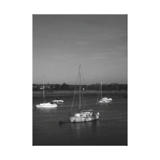 Five Boats Black and White Stretched Canvas Print