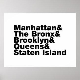 Five Boroughs ~ New York City Poster