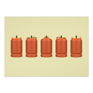 Five butane gas cylinders poster