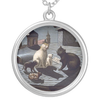 Five Cats Singing On A Roof Silver Plated Necklace