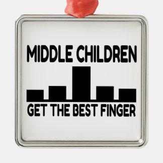 Five Children Middle Child Middle Finger Joke Metal Ornament