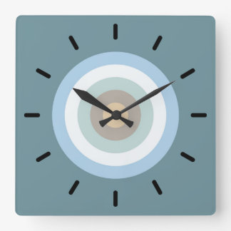 Five Color Combo -Blue Brown Sand Beige Turquoise Square Wall Clock