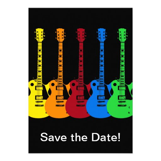 Five Colorful Electric Guitars Custom Invitation