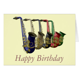 Five Colorful Saxophones Happy Birthday Card
