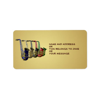 Five Colorful Saxophones Name Gift Tag Bookplates