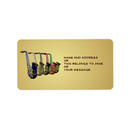 Five Colourful Saxophones Name Gift Tag Bookplates