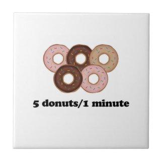 Five donuts in one minute ceramic tile