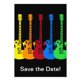 Five Electric Guitars 13 Cm X 18 Cm Invitation Card