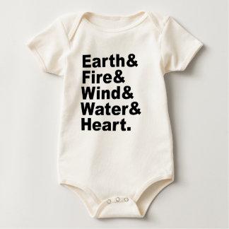 Five Elements   Earth Fire Wind Water & Heart Baby Bodysuit