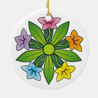 Five flowers in rainbow colors round ceramic decoration