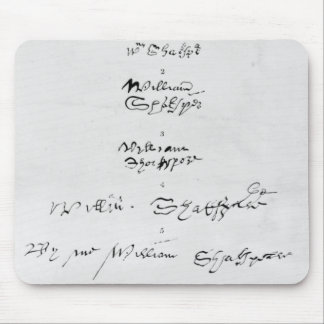 Five Genuine Autographs of William Shakespeare Mouse Pad