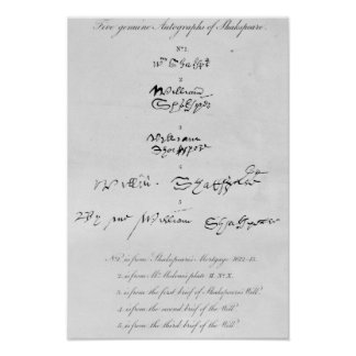 Five Genuine Autographs of William Shakespeare Poster