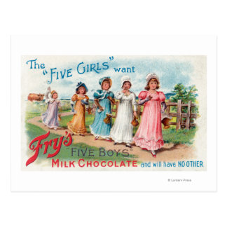 Five Girls Want Fry s Five Boys Milk Chocolate Post Card