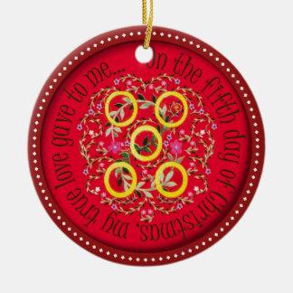Five Gold rings Ceramic Ornament