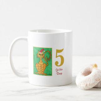 Five Golden Rings Cute Cat & Typography Coffee Mug
