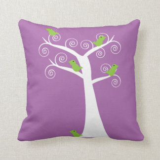 Five Green Birds in a White Tree Purple Background Cushion