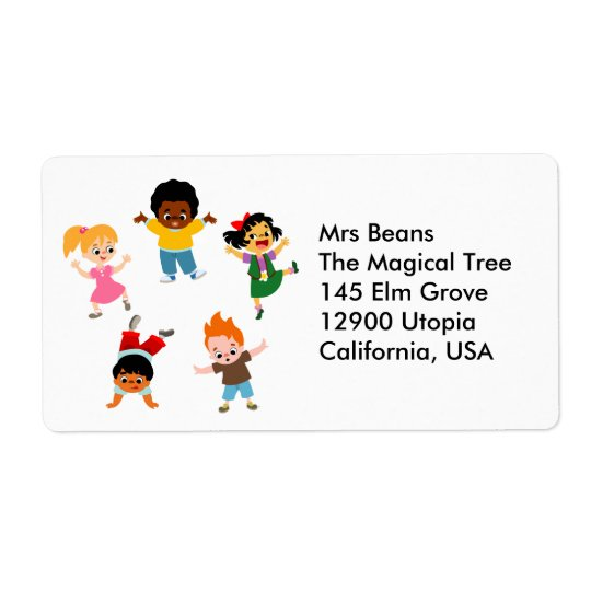 Five Kids Cartoon Avery Label Shipping Label