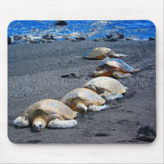 Five Lazy Turtles Lying In The Sand Mouse Pad