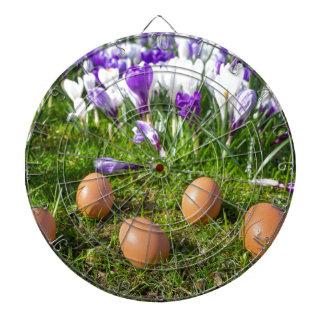 Five loose eggs lying near blooming crocuses dartboard