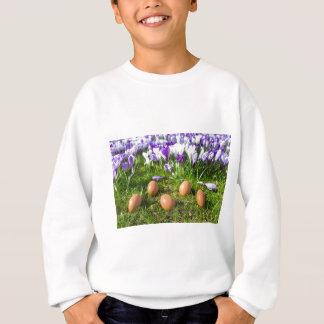 Five loose eggs lying near blooming crocuses sweatshirt
